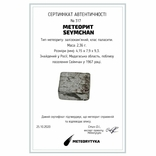 Заготовка-вставка з метеорита Seymchan, 2,36 г, із сертифікатом автентичності, фото №3