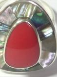 Кольцо и серьги (коралл, перламутр)., фото №6