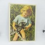 Открытка Девочка с кошкой. чистая, фото №2