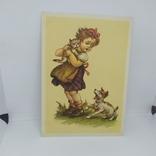 Открытка Девочка с котом на руках. Собака. чистая, фото №2