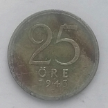 25 эре 1943г (серебро) Швеция, фото №2
