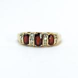 Винтажное золотое кольцо с натуральными гранатами и бриллиантами, фото №2