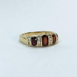 Винтажное золотое кольцо с натуральными гранатами и бриллиантами, фото №3