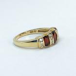 Винтажное золотое кольцо с натуральными гранатами и бриллиантами, фото №4
