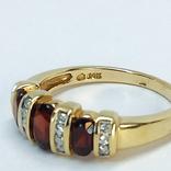 Винтажное золотое кольцо с натуральными гранатами и бриллиантами, фото №5