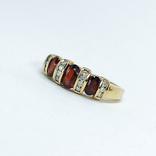 Винтажное золотое кольцо с натуральными гранатами и бриллиантами, фото №6