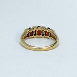 Винтажное золотое кольцо с натуральными гранатами и бриллиантами, фото №7