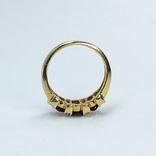 Винтажное золотое кольцо с натуральными гранатами и бриллиантами, фото №8