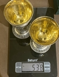 Пара бокалов, серебро 925, вес 538 грамм., фото №13