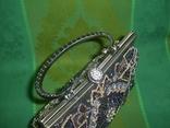 Сумочка из парчи. расшитая с металлической ручкой, фото №7