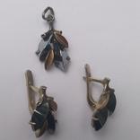 Набор серьги и кулон серебро, фото №3