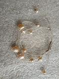 Колье на нитке жемчуг, камни, серебро браслет, фото №4