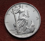 10 лир 1936 г. Италия, серебро, фото №2