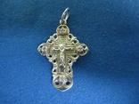 Крестик серебро с циркониями., фото №2