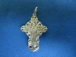 Крестик серебро с циркониями., фото №4