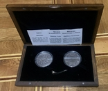 Набор Либерия Конго 10 долларов 10 франков 2004 год Время-деньги Компас и солнечные часы, фото №2