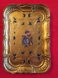 Винтажный флорентийский деревянный поднос, фото №2