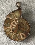 Серебряный кулон с пиритизированным аммонитом (серебро 925 пр, вес 30 гр), фото №2