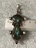Массивный серебряный кулон с лабрадором и гранатом (серебро 925 пр, вес 20 гр), фото №9