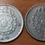 Швеция,1 крона,две монеты 1945 и 1949 г., фото №3