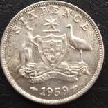 6 пенс серебро 1959, фото №3