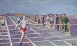 "В.Кнышевский ""Финиш"", х.м.32*54см, 1979г, фото №2"