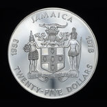 25 Долларов 1978 25 Лет Коронации Елизаветы ІІ (Серебро 0.925, 136.08г), Ямайка, фото №3