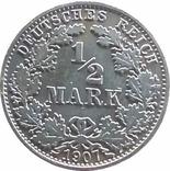 """Германия ½ марки, 1907  """"A"""" - Берлин,серебро,Г46, фото №2"""