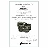 Залізний метеорит Sikhote-Alin, 22 г, з сертифікатом автентичності, фото №3