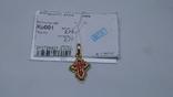 Крест кр001 из желтого золота 585 пробы с эмалью., фото №2