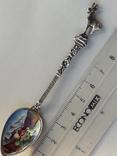Сувенирная ложка из швейцарского Монтрё, серебро, полихромные эмали, фото №2