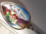 Сувенирная ложка из швейцарского Монтрё, серебро, полихромные эмали, фото №3