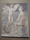 Ангел на шаре б./паст. 38х30 см., 2000г. В.Павлов. копия., фото №5