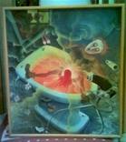 ,, Голубой унитаз,, сюрреализм масло холст рама 83х93, фото №3