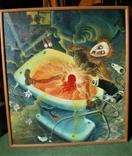 ,, Голубой унитаз,, сюрреализм масло холст рама 83х93, фото №2