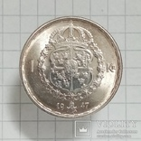"Швеция 1 крона 1947г серебро ""трещина штампа"", фото №3"