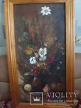 Картина Цветы,масло,картон 76/38см. 1997г. Микиша, фото №5