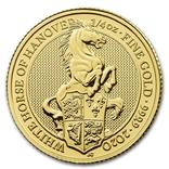 Золотая монета Великобритании Белая лошадь 2020 г.1/4 OZ(7,78 гр.), фото №2