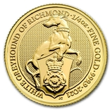 Золотая монета Великобритании Белая борзая 2021 г.1/4 OZ(7,78 гр.), фото №2