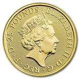 Золотая монета Великобритании Белая борзая 2021 г.1/4 OZ(7,78 гр.), фото №3