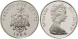 Бермуды, 25 центів, 1984, срібло, RAR, фото №2