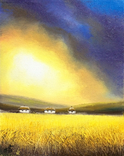 Картина, Між небом та полем, 25х20 см. Живопис на полотні, фото №4