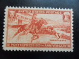 США. 1940 г. Пони. Експрес-почта.  MLH, фото №3
