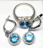 Кольцо, серьги, голубой камень, цирконы, фото №4