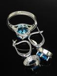 Кольцо, серьги, голубой камень, цирконы, фото №5