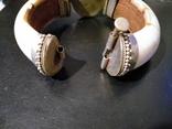 Браслет из бивня моржа, латунными креплениями и камнем, фото №5