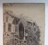 1900-е  Пейзаж с домом. н/х 24,5х18,5 бумага уголь, фото №7