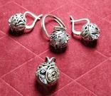 Гарнитур, серебро 925, фото №2