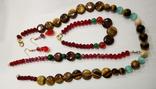 """Натуральный камень ожерелье серьги браслеты""""кошачий глазкристаллы блеск под сваровски, фото №2"""