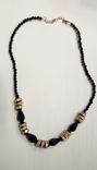 Ожерелье подсеребро подсваровски+черные бусины, фото №2